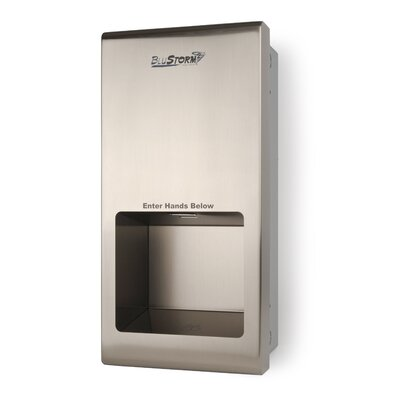 Palmer Fixture Blustorm2 Recessed High Speed 110/120 Volt Hand Dryer in Brushed Stainless