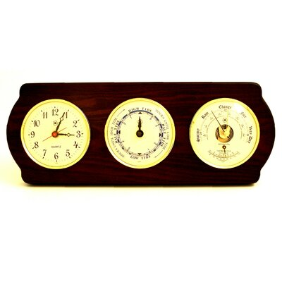 Bey-Berk Time Tide Wall Clock with Barometer and Thermometer