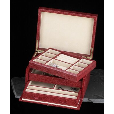 Multi-level Jewelry Box in Red Leather