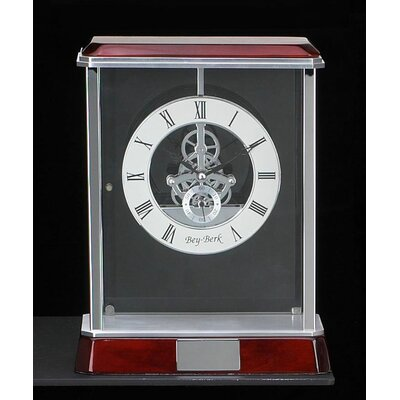 Bey-Berk Madrid Skeleton Clock in Silver