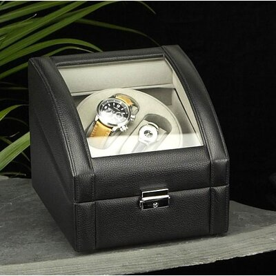 Two Watch Winder in Black Leather