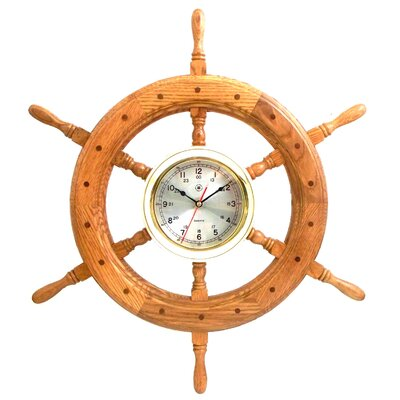 "Bey-Berk Oversized 24.5"" Ships Wheel Wall Clock"