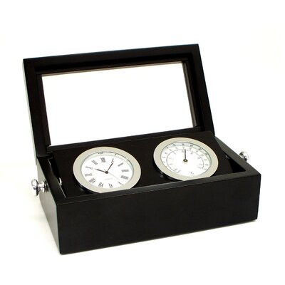 Bey-Berk Chrome Clock and Thermometer