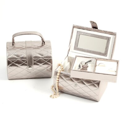 Bey-Berk Sweet Sixteen Jewelry Case in Silver Leather