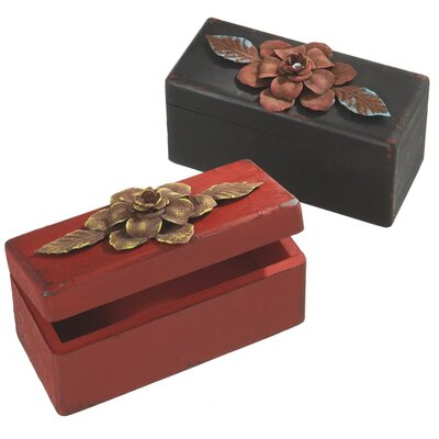 Rectangle Keepsake Box with Metal Flower (Set of 2)