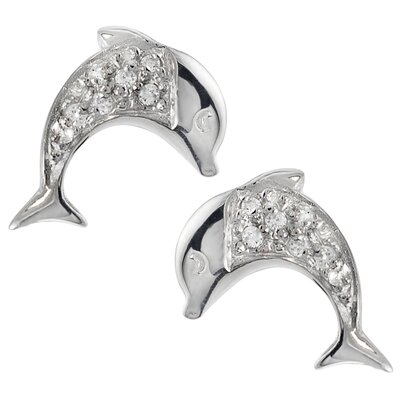 Dolphin Round Cut Cubic Zirconia Stud Earrings