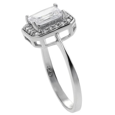 Tressa Collection Sterling Silver Emerald Cut Cubic Zirconia Engagement Ring