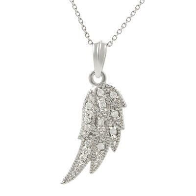 Sterling Silver Angel Wing Cubic Zirconia Necklace