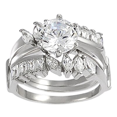 Sterling Silver Marquise Cut Cubic Zirconia Bridal and Engagement Ring Set