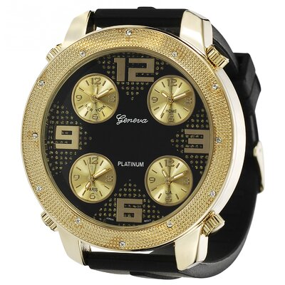 Geneva Platinum Men's Milgrain Rhinestone Accent Subdial Watch
