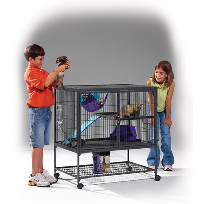 Midwest Homes For Pets Ferret Nation Single Unit Cage in Gray Hammertone Finish