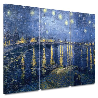 Art Wall 3 Piece 'Starry Night over the Rhone' Gallery-Wrapped Canvas Art Vincent van Gogh ...