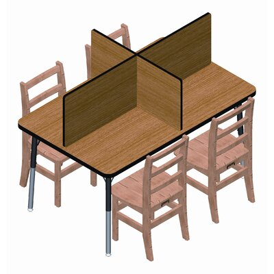 Jonti-Craft Rectangular Laminate Study Carrel Desk with 4 Carrels