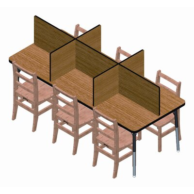 Jonti-Craft Rectangular Laminate Study Carrel Desk with 6 Carrels