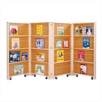 "Jonti-Craft Mobile Library 48"" Bookcase with 4 Sections"