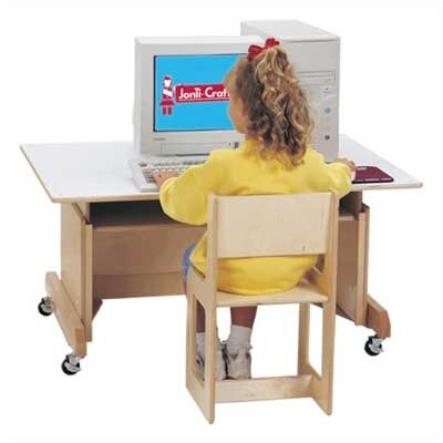 "Jonti-Craft 42"" W White Computer Table"