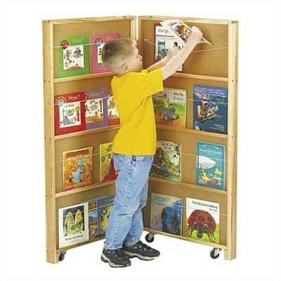 """Jonti-Craft 48"""" Mobile Library Bookcase with 2 Sections"""