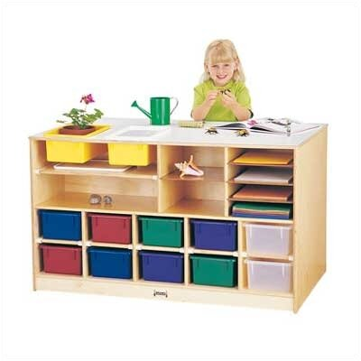 Jonti-Craft Mobile Storage Island - Twin 18 Compartment Cubby