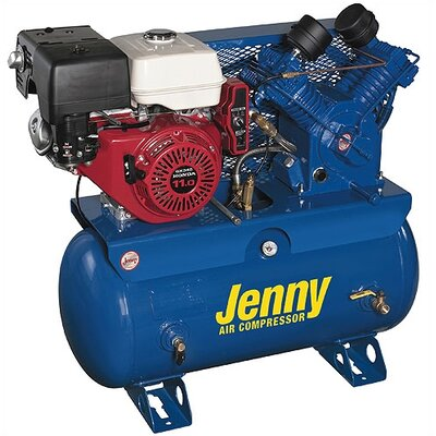 Jenny Products Inc 30 Gallon 11 HP Gas Two Stage Service Vehicle Stationary Air Compressor