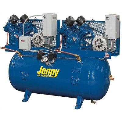Jenny Products Inc 120 Gallon 10 HP Two Stage Duplex Electric Stationary Air Compressor