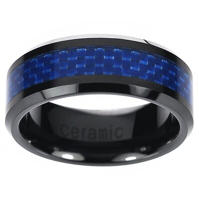Men's Ceramic Carbon Inlay Band Ring