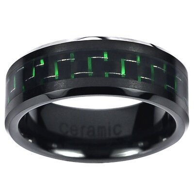 Men's Ceramic Carbon Fiber Inlay Band Ring