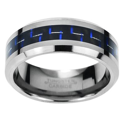 Men's Tungsten Carbide Carbon Fiber Inlay Comfort Fit Band Ring