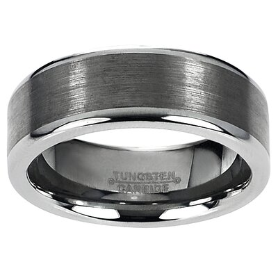 Men's Tungsten Carbide Raised Edge Band Ring