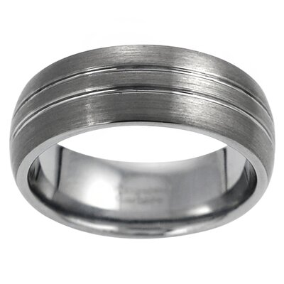 Men's Tungsten Double Grooved Band Ring