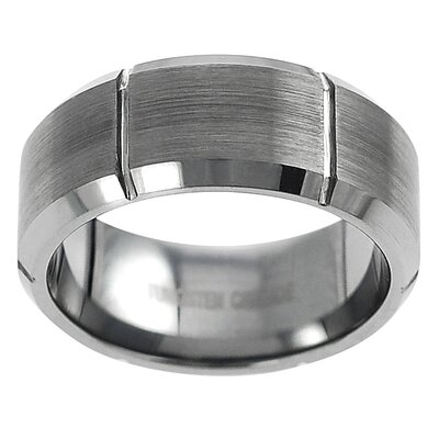 Men's Tungsten Brushed Vertical Grooved Band Ring