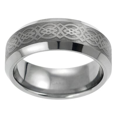 Men's Tungsten Engraved Celtic Band Ring