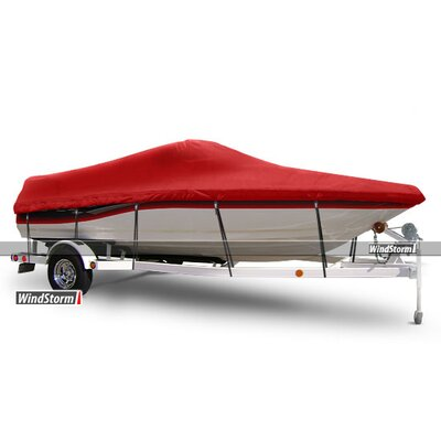 Windstorm V-Hull Runabout Boat Cover with Windshields and Bow Rails