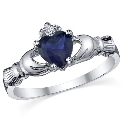 Sterling Silver Irish Claddagh Friendship and Love Sapphire/Cubic Zirconia Ring
