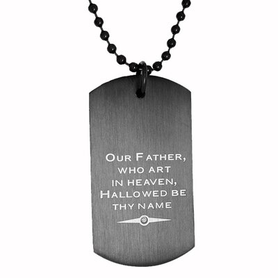 Stainless Steel Dog Tag Diamond Necklace