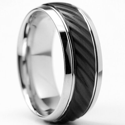 Men's Black Plated Stainless Steel Comfort Fit Wedding Band