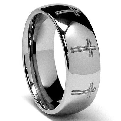 Dome Tungsten Laser Etched Eternity Cross Comfort Fit Ring