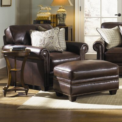 Burke Leather Armchair and Ottoman