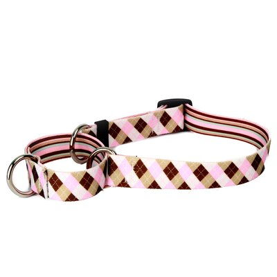 Pink and Brown Argyle with Stripes Martingale Collar