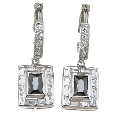 Plutus Partners Emerald Cut Sapphire Fashion Hoop Earrings