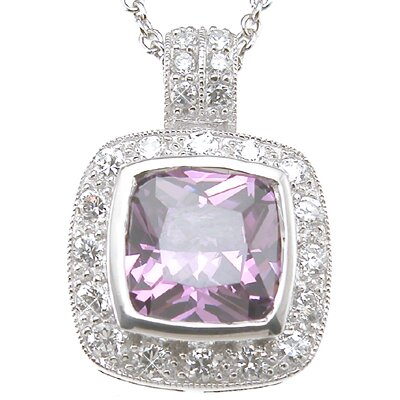 .925 Sterling Silver Princess Cut Amethyst Fashion Pendant
