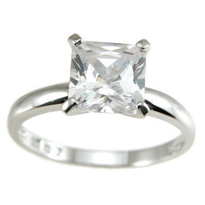 .925 Sterling Silver Princess Cut Cubic Zirconia Solitaire Wedding Ring