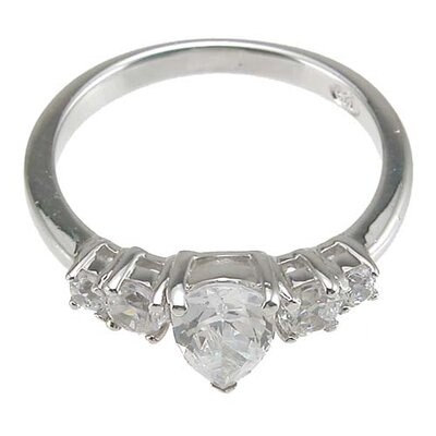 Plutus Partners .925 Sterling Silver Pear Engagement Ring