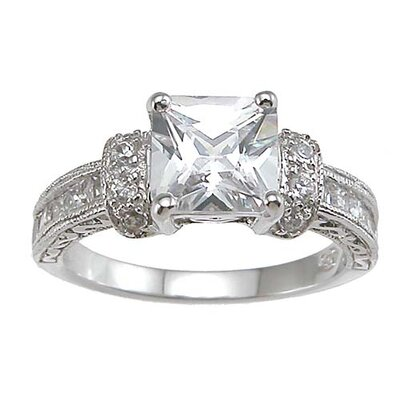 .925 Sterling Silver Princess Cut Cubic Zirconia Engagement Ring