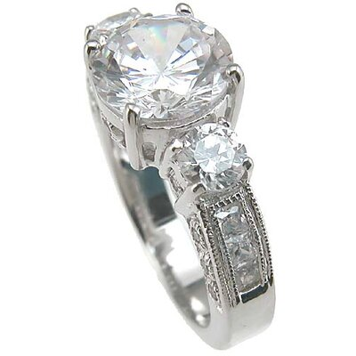 Plutus Partners .925 Sterling Silver Brilliant Cut Cubic Zirconia Wedding Ring