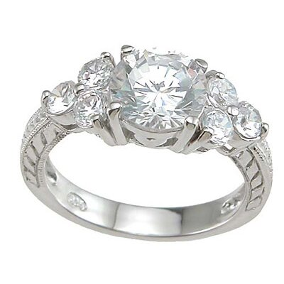 .925 Sterling Silver Brilliant Cut Cubic Zirconia Wedding Ring