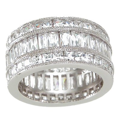 .925 Sterling Silver Princess Cut Cubic Zirconia Triple Eternity Ring