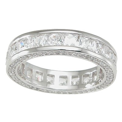 .925 Sterling Silver Princess Cut Cubic Zirconia Eternity Ring