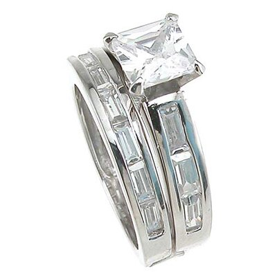 Plutus Partners .925 Sterling Silver Princess Cut Cubic Zirconia Engagement Ring Set