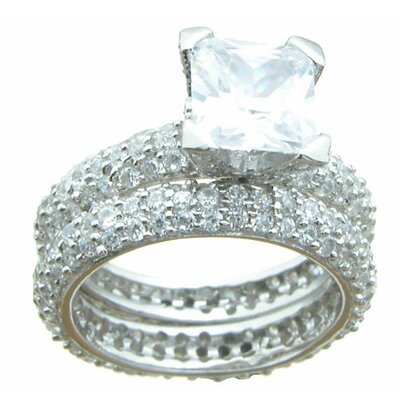 .925 Sterling Silver Princess Cut Cubic Zirconia Pave Eternity Wedding Set Ring