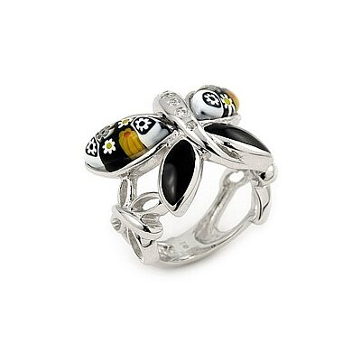 Millefiori Sterling Silver Butterfly Glass Ring